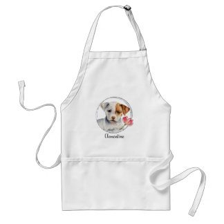 Puppy Holding Lotus Flower | Add Your Name Standard Apron