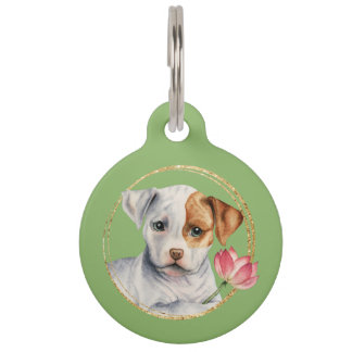 Puppy Holding Lotus Flower with Faux Gold Ring Pet Name Tag