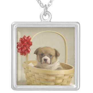 Puppy in a basket personalized necklace
