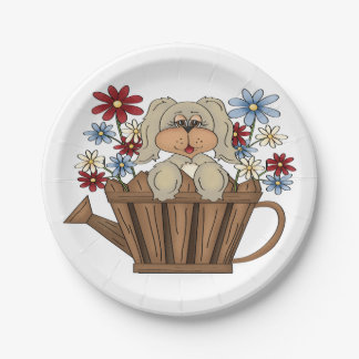 Puppy In A Watering Can Paper Plates 7 Inch Paper Plate