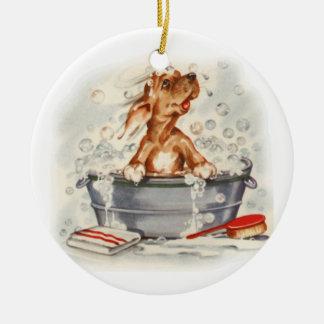puppy in bath round ceramic decoration