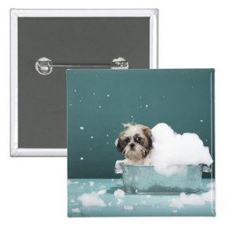 Puppy in foam bath 15 cm square badge