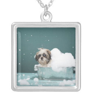 Puppy in foam bath silver plated necklace