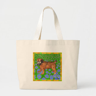 Puppy in Garden - Yellow Tote Bags