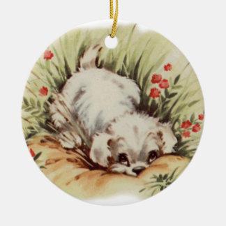 puppy in grass round ceramic decoration