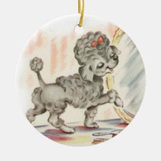 puppy in mirror round ceramic decoration