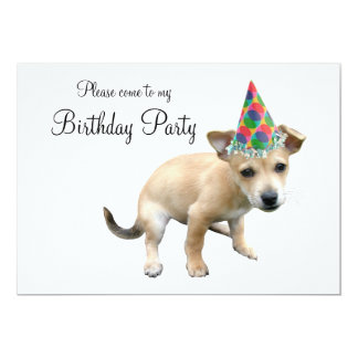 Puppy in Party Hat Birthday Invitation
