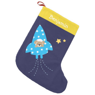 Puppy in Rocket Ship Personalized Small Christmas Stocking