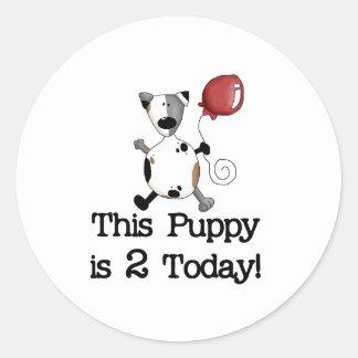 Puppy is 2 Birthday Round Sticker
