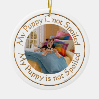 Puppy is Not Spoiled Round Ceramic Decoration