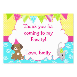 Puppy Kitten Gift Favor Label Girl Birthday Tag Pack Of Chubby Business Cards