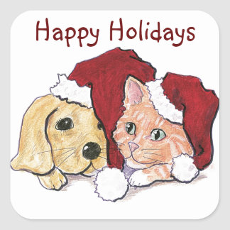 Puppy, Kitten Santa Cap Christmas Stickers