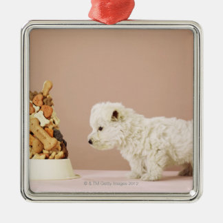 Puppy looking at pile of biscuits in dog bowl christmas ornament