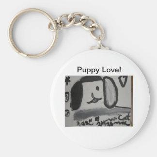Puppy love art design peace key ring