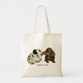 Puppy love bag dachshund kissing toy dog