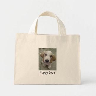 Puppy Love basset puppy Mini Tote Bag