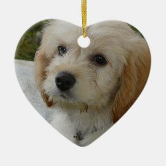 Puppy Love - Cute MaltiPoo Dog Photo Ceramic Heart Decoration