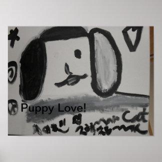 Puppy Love fun art design Poster