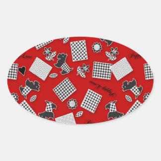 Puppy Love Scotty Terrier Red Oval Sticker