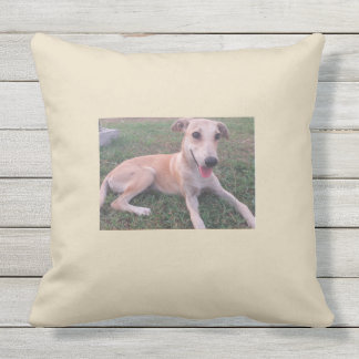 Puppy love, smile, dog, simplicity outdoor cushion