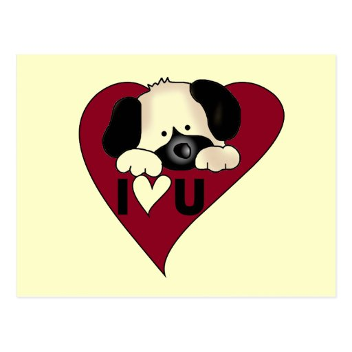 Puppy Love Valentine Tshirts and Gifts Postcard