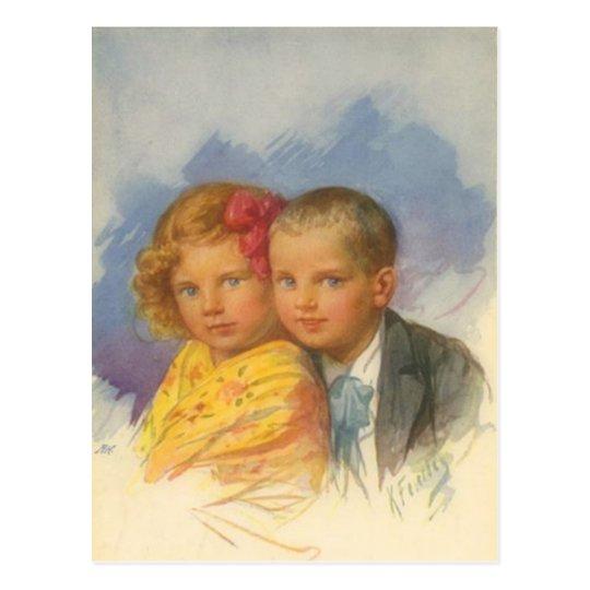 Puppy Love, Vintage Child, Boy & Girl Portrait Postcard
