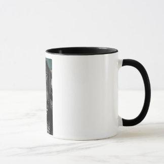 Puppy love with black rim mug