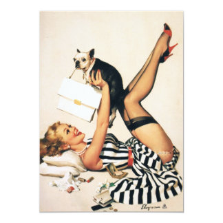 Puppy Lover Pin-up Girl - Retro Pinup Art 13 Cm X 18 Cm Invitation Card