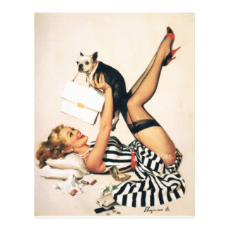 Puppy Lover Pin-up Girl - Retro Pinup Art 21.5 Cm X 28 Cm Flyer