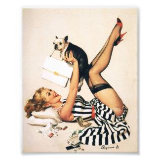 Puppy Lover Pin-up Girl - Retro Pinup Art Art Photo