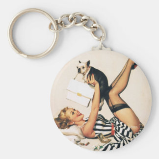 Puppy Lover Pin-up Girl - Retro Pinup Art Basic Round Button Key Ring