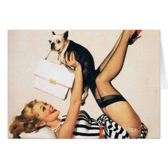 Puppy Lover Pin-up Girl - Retro Pinup Art Card