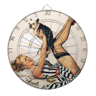 Puppy Lover Pin-up Girl - Retro Pinup Art Dartboard