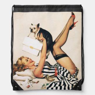 Puppy Lover Pin-up Girl - Retro Pinup Art Drawstring Bag