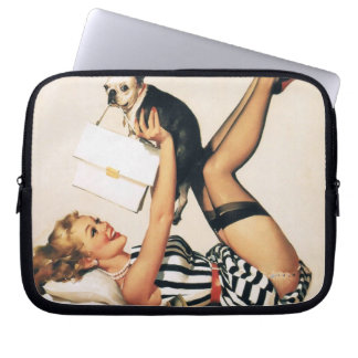 Puppy Lover Pin-up Girl - Retro Pinup Art Laptop Sleeve