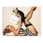 Puppy Lover Pin-up Girl - Retro Pinup Art Postcard