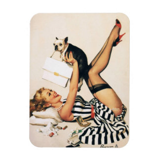 Puppy Lover Pin-up Girl - Retro Pinup Art Rectangular Photo Magnet