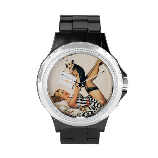 Puppy Lover Pin-up Girl - Retro Pinup Art Watches