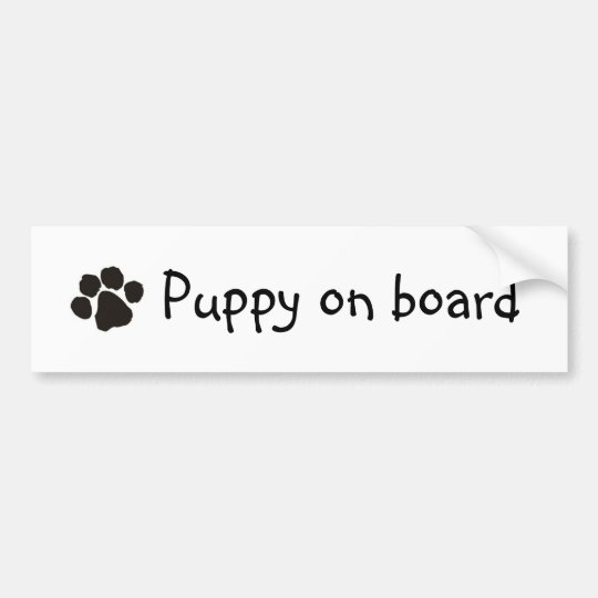 Puppy on board bumper sticker