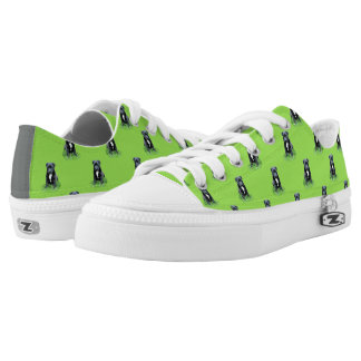 Puppy on green background printed shoes