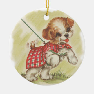 puppy on leash round ceramic decoration