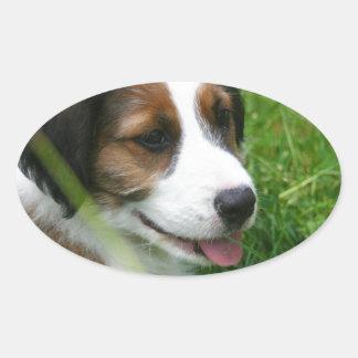 Puppy Oval Sticker