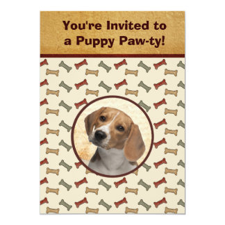 "Puppy Party Dog Event Custom Photo 5"" X 7"" Invitation Card"
