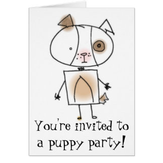 Puppy Party Invitation Note Card