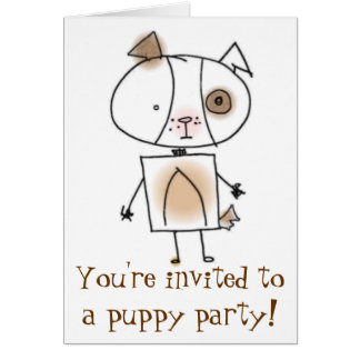 Puppy Party Invitation Stationery Note Card