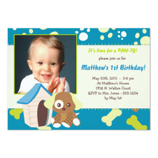 PUPPY PARTY Invitations - Boy