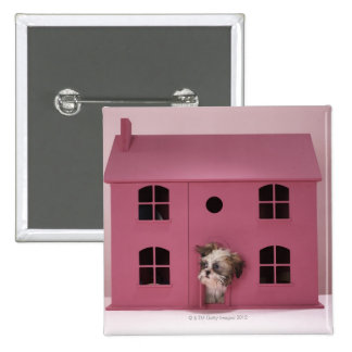 Puppy peering out of doll's house 15 cm square badge