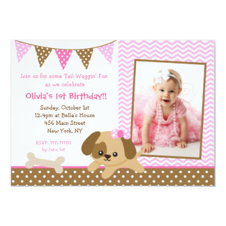 Puppy Photo Birthday Party Invitations