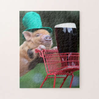 Puppy pig shopping cart jigsaw puzzle
