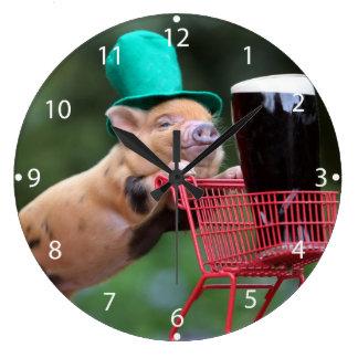 Puppy pig shopping cart large clock